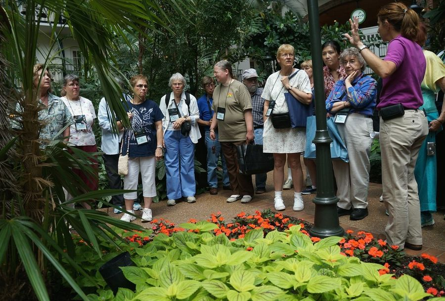 Another group and guide discussing the history of the gardens