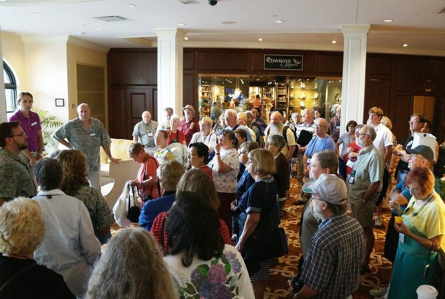 Group meeting the tour guides in the Opryland Hotel lobby