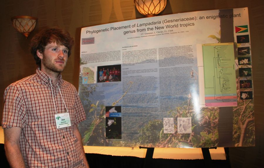 Jon Grammer with his poster presentation on <i>Lampadaria</i>