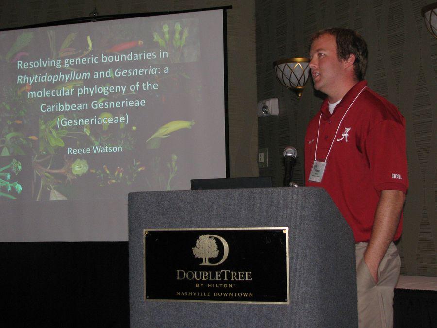 Reece Watson presenting his program on <i>Rhytidophyllum</i> and <i>Gesneria</i>