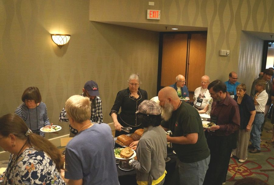 Buffet line at the Saturday luncheon