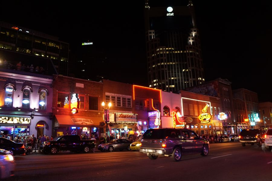Night scene of downtown Nashville as the convention attendees walked back to the hotel to pack up