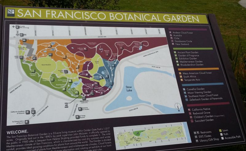 The San Francisco Botanical Garden map to help plan our visit