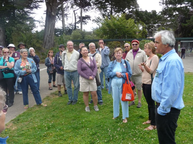 Host Don Mahoney describing the garden's history