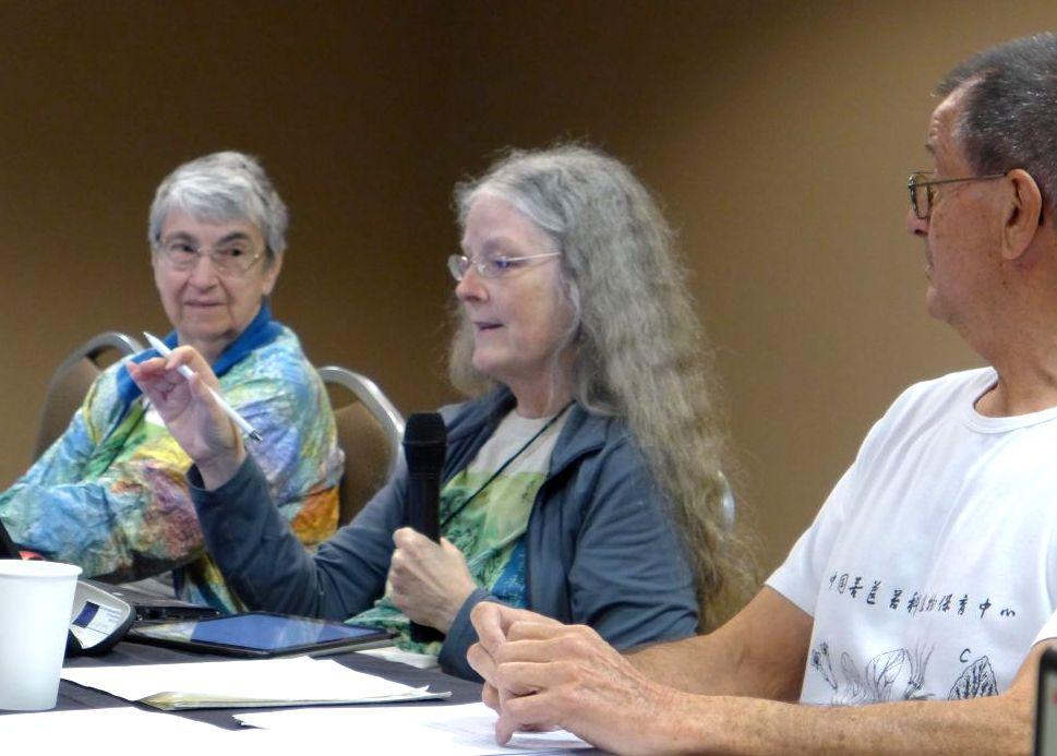 Sally Robinson (Parliamentarian), Julie Mavity-Hudson (President) and Leonard Re (Recording Secretary) at the board meeting