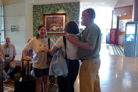 Convention Chair Jo Anne Martinez being greeted upon arrival at the hotel on Sunday