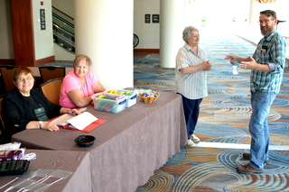 Sunday opening of Registration with Sylvia Svitak, Kathy Coleman, Mary Helen Maran (Registrar), Brandon Erikson
