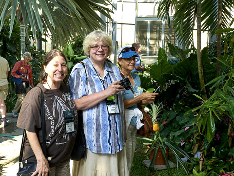 Jo Anne Martinez, Irina Nicholson (Hybrid Registrar), Mary Jo Modica in the conservatory