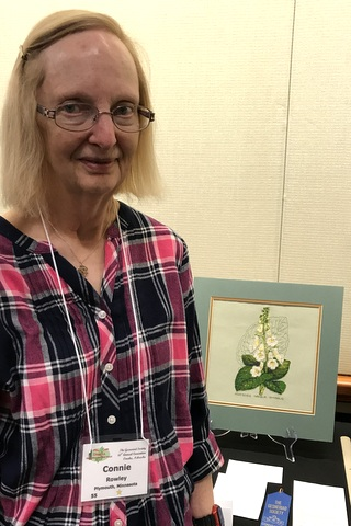 Connie Rowley with her award-winning arts needlework entry