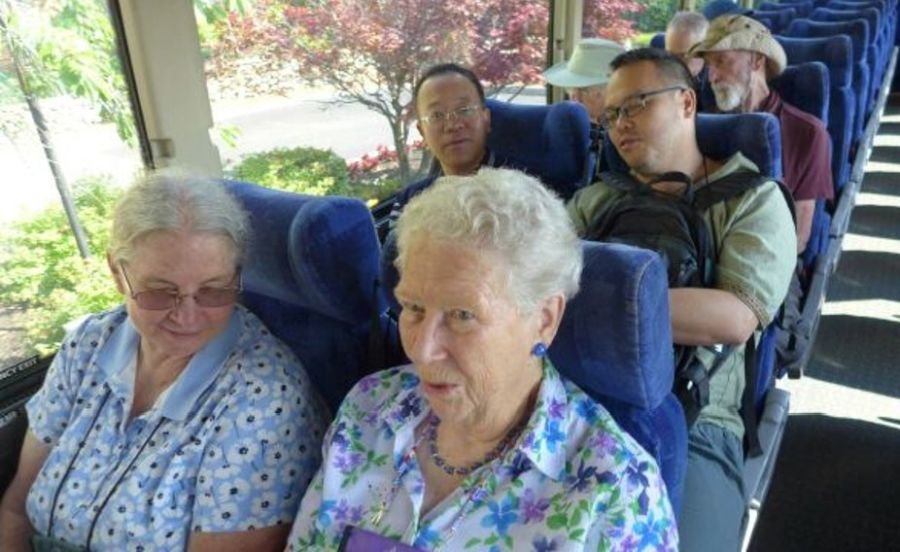 Bus trip back to the hotel - Judy Anderson, Doris Brownlie, Wei Yi-gang and Wen Fang on the bus trip back to the hotel