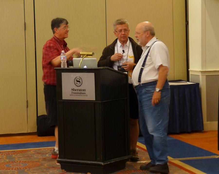 Rick Fadden, Stephen Maciejewski, and Ron Myhr setting up