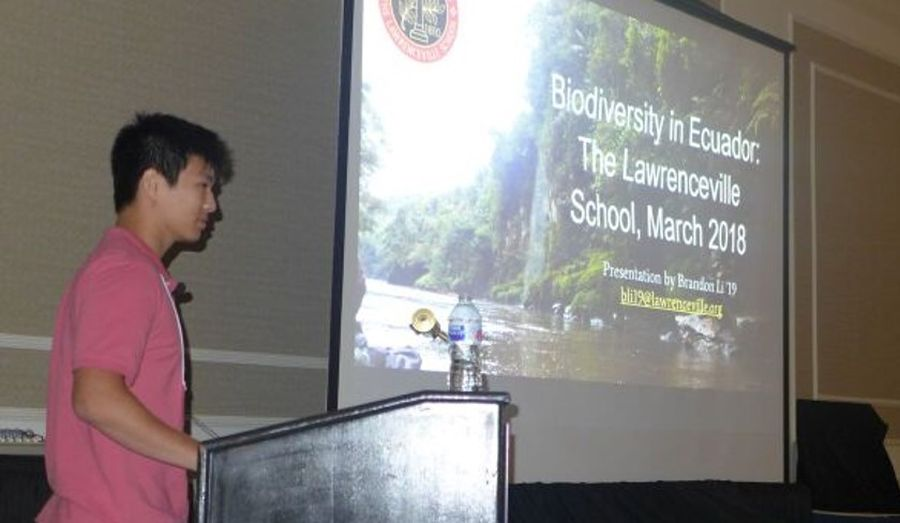 """Student Brandon Li presenting """"The Biodiversity of the Cordillera del Cóndor"""""""